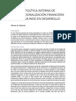 La Política Interna de Internacionalización Financiera en El Mundo en Desarrollo - Copia