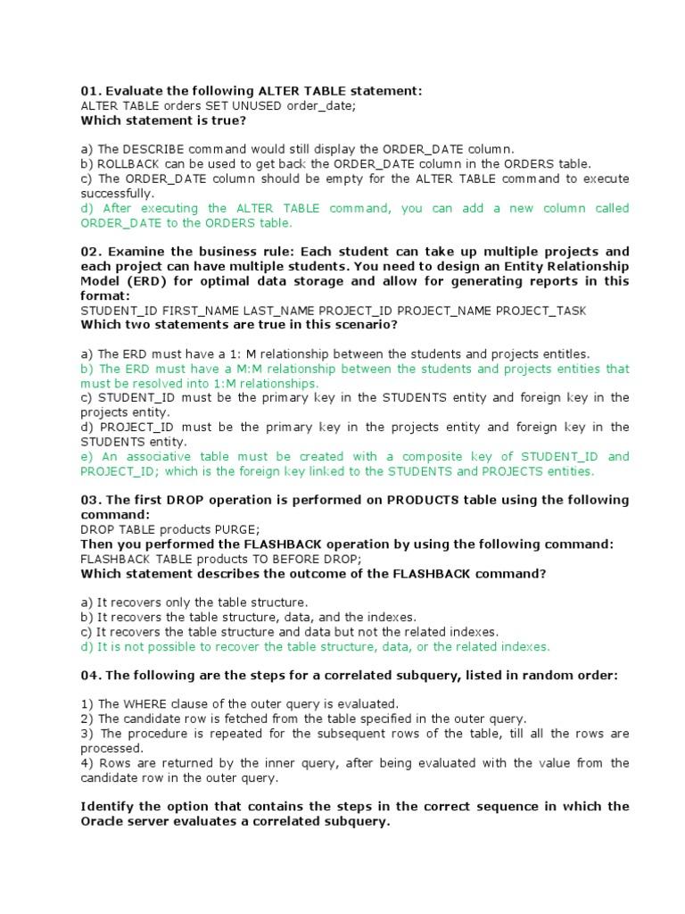 1Z0-071 docx | Sql | Table (Database)