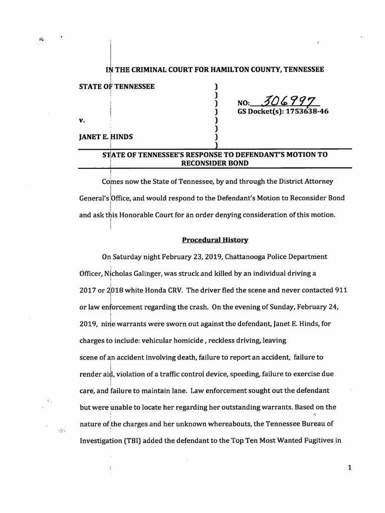 Prosecutors' response to petition to reduce bond