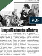 28-02-19 Entregan 170 testamentos en Monterrey