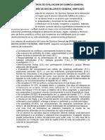 @@@ Parametros de Evaluacion 1 Bachillerato Quimica General