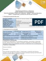 Guía de Actividades y Rúbrica de Evaluación Taller 2. Comprensión y Producción Del Discurso Narrativo