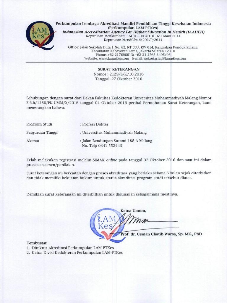 2129 Surat Keterangan Profesi Dokter Universitas