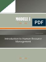 Module I - Basics of HRM