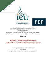 Definición de los elementos fundamentales de la administración de los proyectos