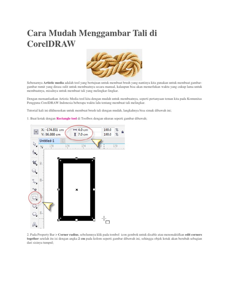 Cara Mudah Menggambar Tali Di Coreldraw Rectangle Tool