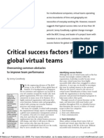 Critical Success Factors for Global Virtual Teams