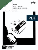 Manostat Casette Pump Drive Unit Operating Instructions