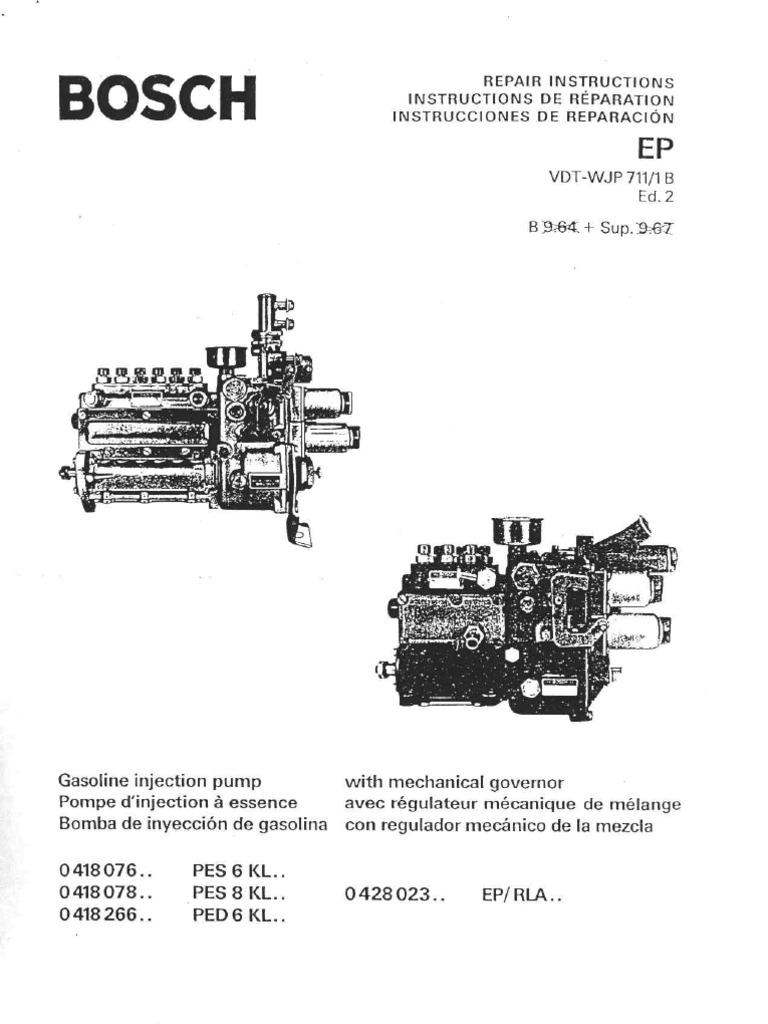 bosch mfi repair manual rh scribd com Bosch P7100 Injection Pump Parts bosch va4 injection pump manual