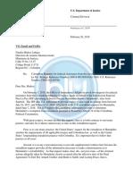 Carta de justicia de EE.UU. a la JEP