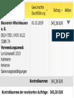 Bauverein Rheinhausen e. G. - Mietzahlung Lentzimanoth 2019