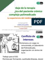 Abordaje de la terapia farmacológica del paciente crónico complejo polimedicado. La experiencia del médico de familia