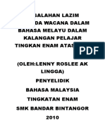 Kesalahan Lazim Penanda Wacana Dalam Bahasa Melayu Dalam Kalangan Pelajar Tingkan Enam Atas Lima