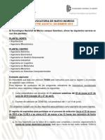 CONVOCATORIA DE NUEVO INGRESOSEMESTRE AGOSTO-DICIEMBRE2019