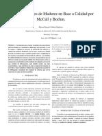 Ensayo - Modelos de Madurez en Base a Calidad Por McCall y Boehm.