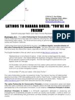 Latinos to Barbara Boxer
