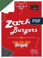 Zark's Burgers Menu 2019
