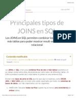 Principales Tipos de JOINS en SQL
