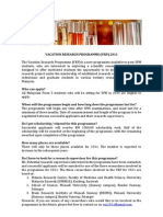 Vacation Research Programme 2011 Application Form