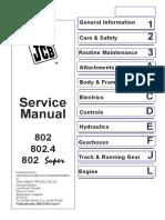 JCB 802, 802.4, 802 Super Mini Excavator Service Repair Workshop Manual