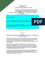 LEY 923 de 2004 Criterios Para La Fijación de Pensiones y Asignaciones de Retiro