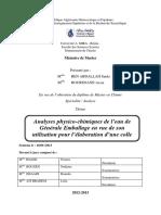 Analyses Physico-chimiques de l'Eau de Générale Emballage en Vue de Son Utilisation Pour l'Élaboration d'Une Colle.