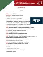Programa do XVII Congresso JS FAUL