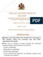 Policies on Mini Grids in Malawi