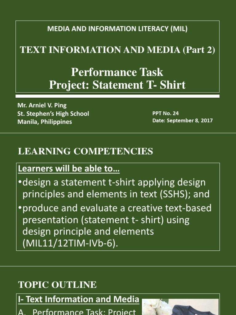 Text Information And Media Part2 Information Literacy T Shirt