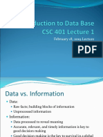 CSC401 - Introduction to Database