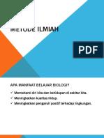 Kuliah 1.1 Metode Ilmiah Dalam Biologi