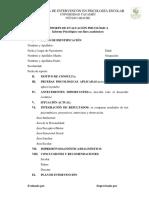 Formato 13. Reporte de Evaluación Psicológica