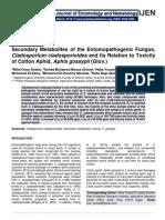 Secondary Metabolites of the Entomopathogenic Fungus, Cladosporium cladosporioides and its Relation to Toxicity of Cotton Aphid, Aphis gossypii (Glov.)
