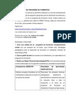 Proyecto Diseño de Un Programa de Formacion