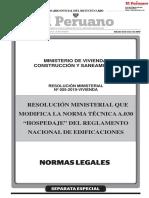 Resolución ministerial que modifica la norma técnica a los hospedajes