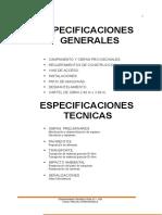 Especificaciones Generales y Tecnicas
