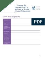 Formato de Observaciones al Diseño de la Unidad Curricular (Asignatura)