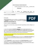 Contrato Privado de Comisión Mercantil