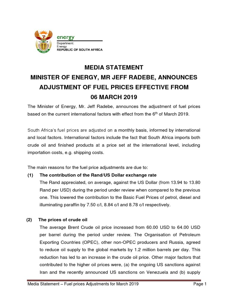 Media Statement — Fuel Prices for March 2019 | Price Of Oil