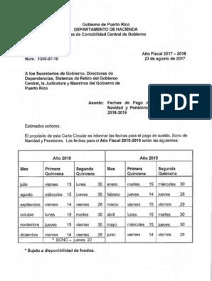 Dias De Pago Gobierno Pr 2019