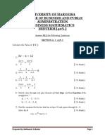 Mid Term Business Mathimatics for a,B,C,D, E