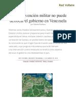 Una Intervención Militar No Puede _derrocar El Gobierno en Venezuela, Por Valentin Vasilescu