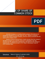 Value of Share of Common Stock