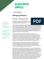 Wolfgang Tillmans Serpentine Press Release 22.04.10