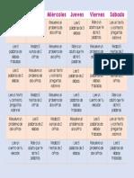 Calendario Actividades Extra Escolares