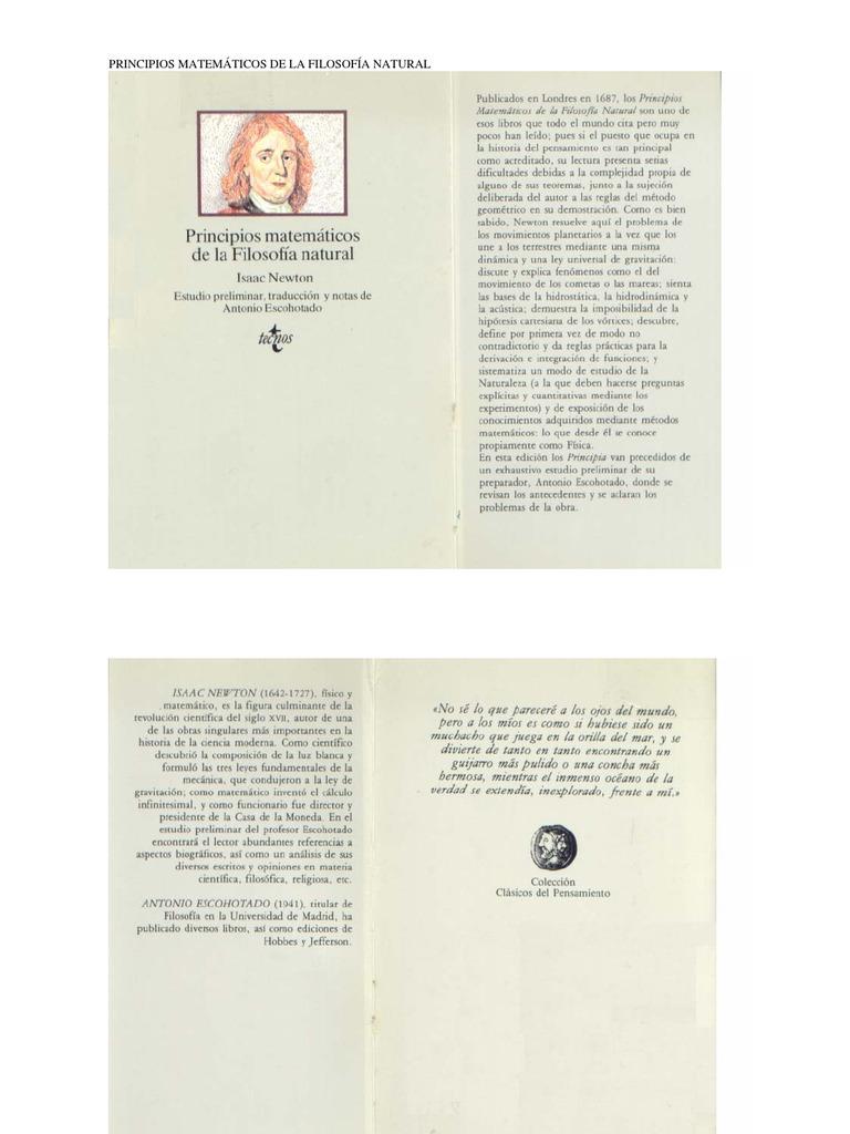 Isaac Newton Principios Cos De La Filosofia Natural Antonio Escohotado Por Joseantoniorh Mecanica Clasica Enseñanza De Matemática