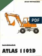 1ekskavator Atlas 1102d Instruktionsbok