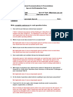 Speech Self-Evaluation Form