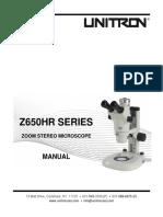 MANUAL Z650HR Zoom Stereo Microscope