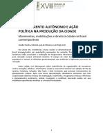 PLANEJAMENTO AUTÔNOMO E AÇÃO POLÍTICA NA PRODUÇÃO DA CIDADE